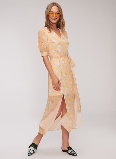People By Fabrika Desenli Elbise Sarı